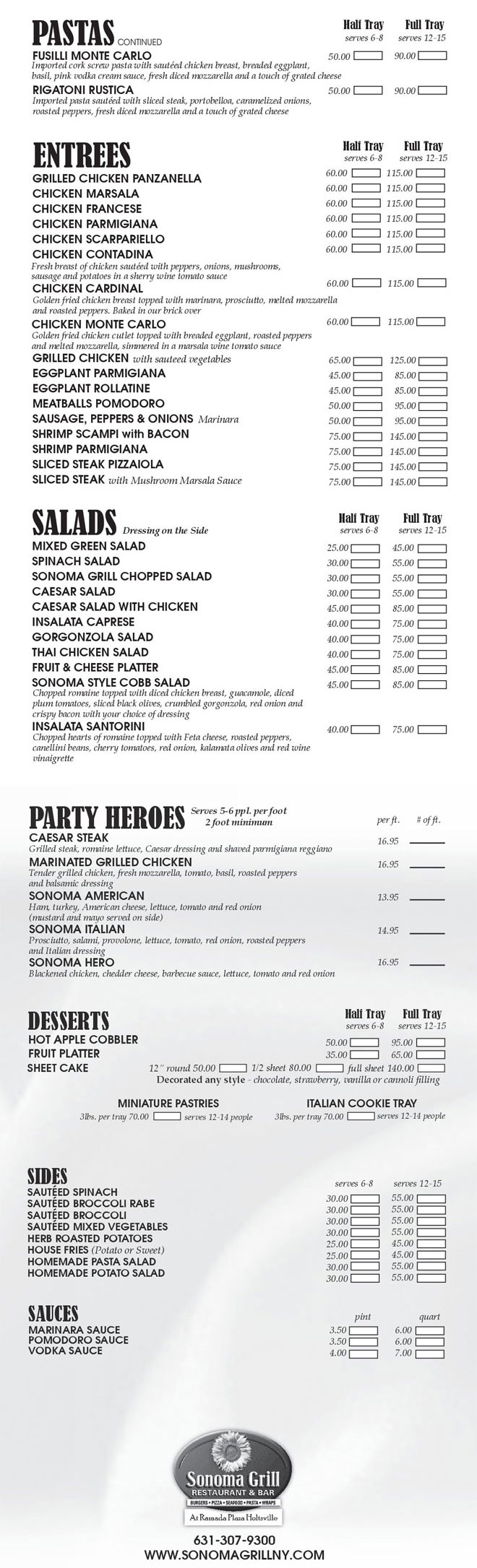 Off-Premise Catering Menu